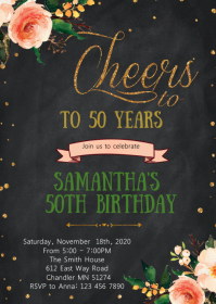 Floral cheers birthday party invitation
