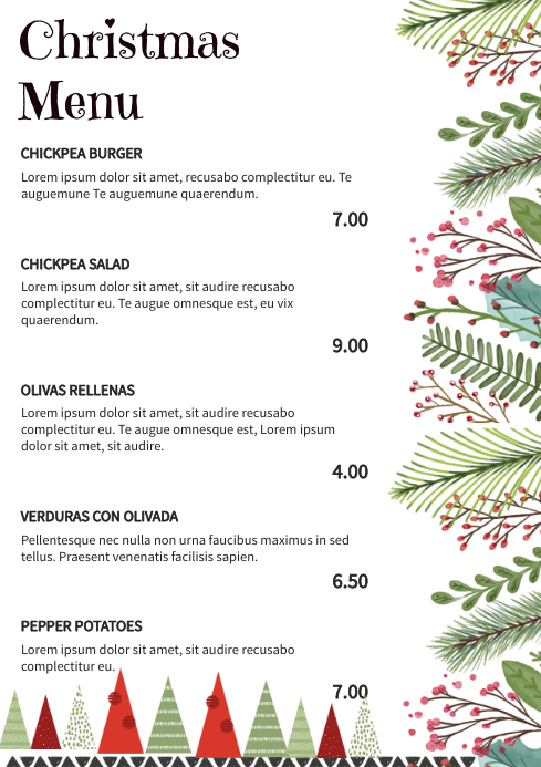 Floral Christmas Menu Design A4 template
