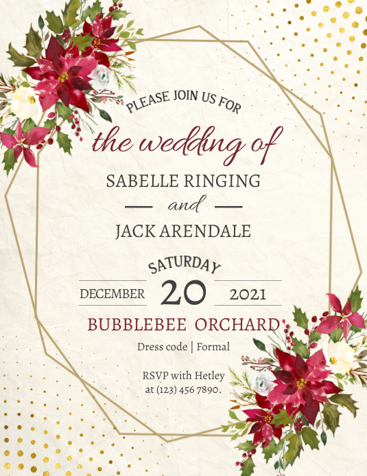 Floral christmas wedding flyer template