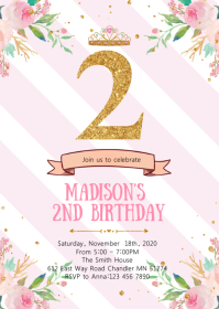 Floral confetti 2nd birthday invitation