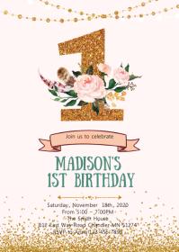 Floral confetti first birthday invitation