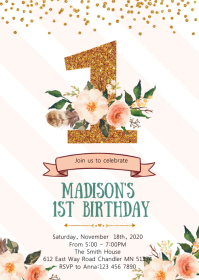 Floral confetti first birthday invitation