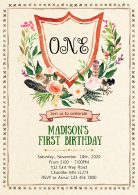 Floral Crest birthday party invitation