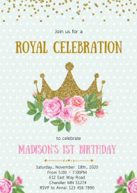 Floral crown birthday party invitation