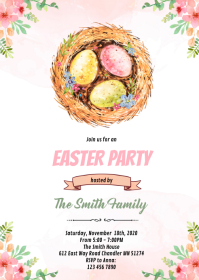 Floral easter hunt invitation A6 template