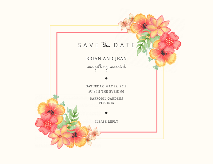 Floral Elegant Save The Date Post Card Template