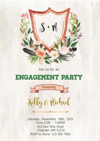 Floral engagement bridal shower invitation