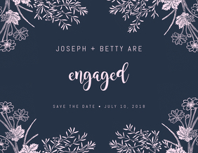 Floral Engagement Save The Date Design Template