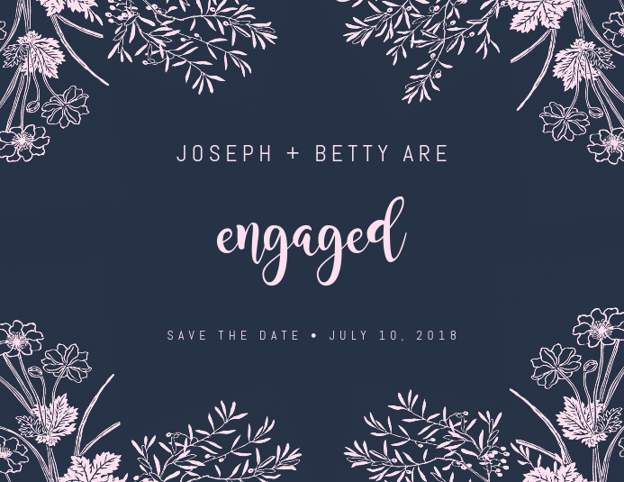 Floral Engagement Save The Date Design Template Flyer (US Letter)