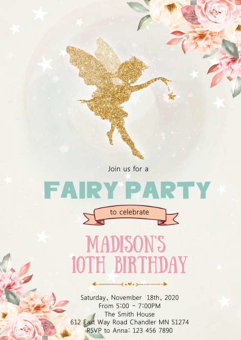 Floral fairy princess birthday invitation A6 template