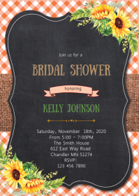 Floral fall bridal shower invitation A6 template