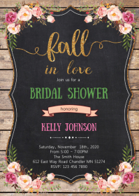 Floral fall in love party invitation
