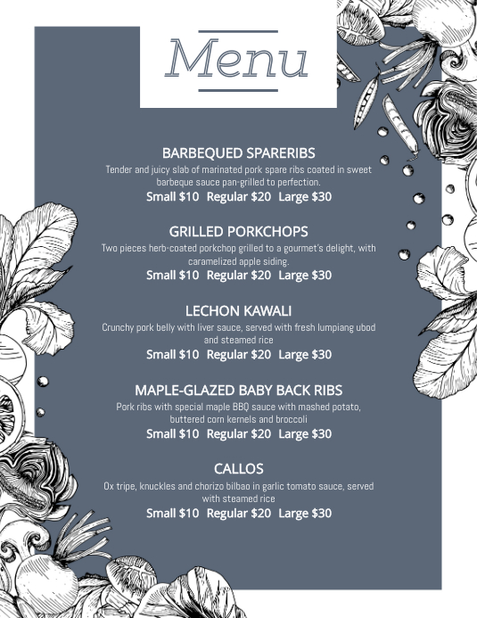 Floral French Bistro Menu Template Pamflet (Letter AS)