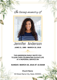 Floral Funeral Announcement Card A6 template
