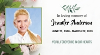 Floral Funeral Announcement Card Digital Display (16:9) template