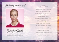 Floral Funeral Prayer Card A6 template