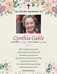 Floral Funeral Prayer Card Flyer Template Volantino (US Letter)
