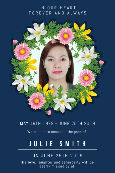 Floral Funeral Reception Invite Plakat template