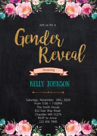 Floral gender reveal invitation