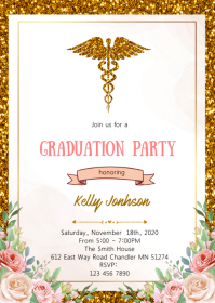 Floral glitter nurse theme invitation A6 template