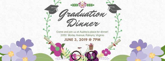 Floral Graduation Dinner Invitation Portada de Facebook template