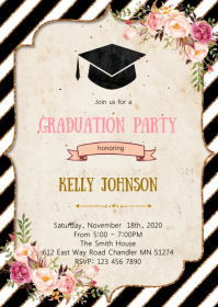 Floral graduation party invitation