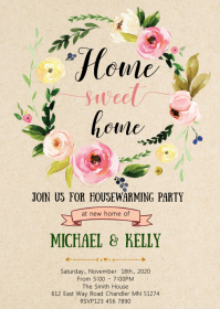 Floral Housewarming party theme invitation A6 template