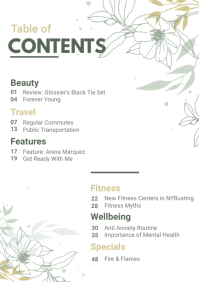 Floral Layout Table of Contents A4 template