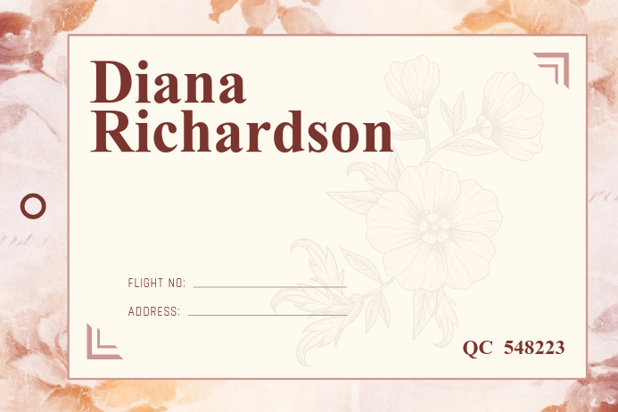 Floral Luggage Label Étiquette template