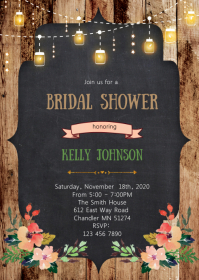 Floral mason jar bridal shower invitation