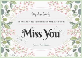 Floral Miss you Postcard Poskaart template