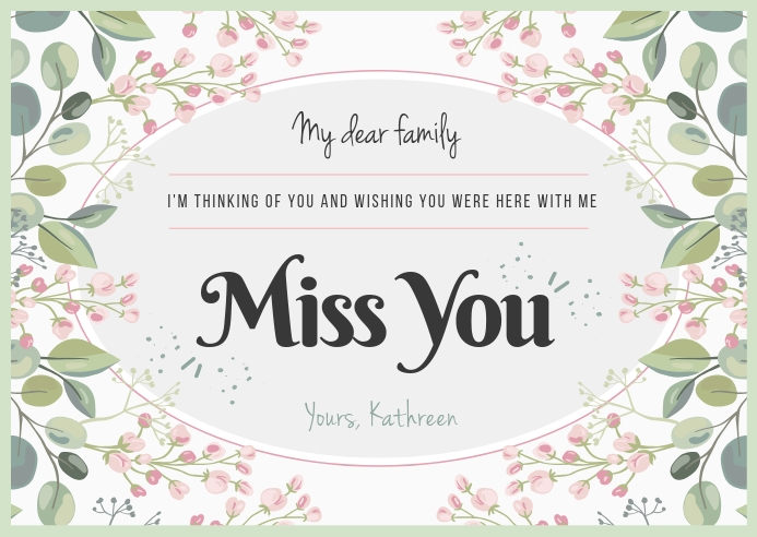 Floral Miss you Postcard ไปรษณียบัตร template
