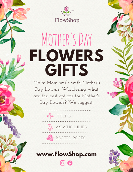 Floral Mother's Day Flower Retail Flyer Ulotka (US Letter) template