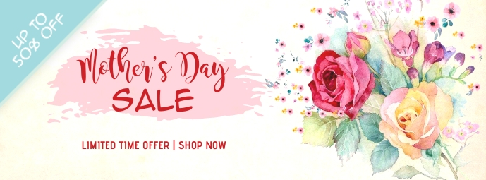 Floral Mother's Day Sale Facebook Cover Zdjęcie w tle na Facebooka template