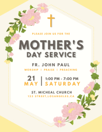 Floral Mother's Day Service Flyer template