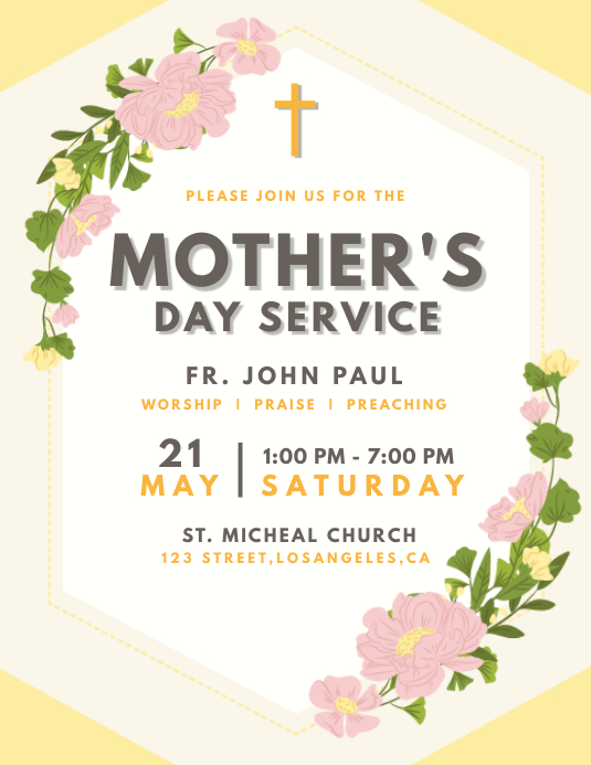 Floral Mother's Day Service Flyer 传单(美国信函) template