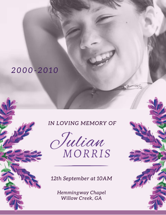 Floral obituary flyer template