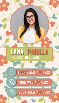 floral office id card modern business card te Visitekaartje template