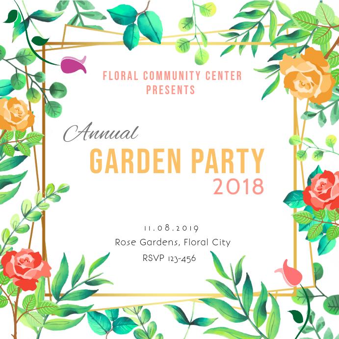 Floral Party Invite Square Instagram
