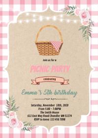 Floral picnic invitation A6 template