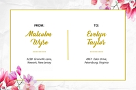 Floral Pink and Gold Shipping Label Template Étiquette