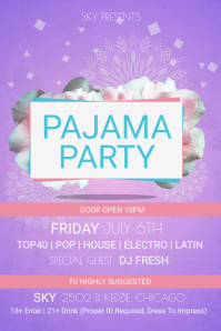 Floral Pink and Purple Pajama Party Poster