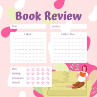 Floral Pink Book Review Instagram Post Templa template