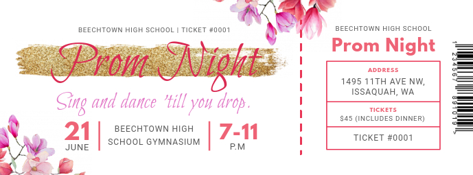Floral Prom Night Ticket Foto Sampul Facebook template
