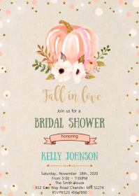 Floral pumpkin shower invitation A6 template
