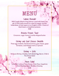 floral restaurant Menu Specials Flyer