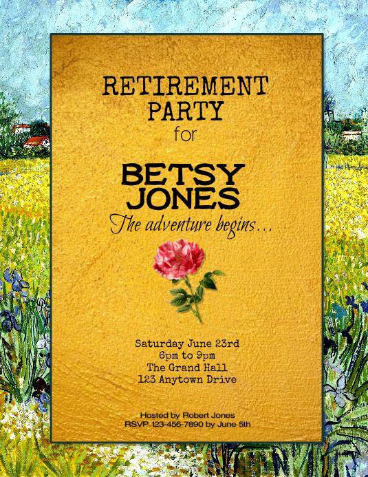 floral retirement party flyer