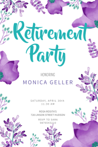 Floral Retirement Party Poster Template Affiche