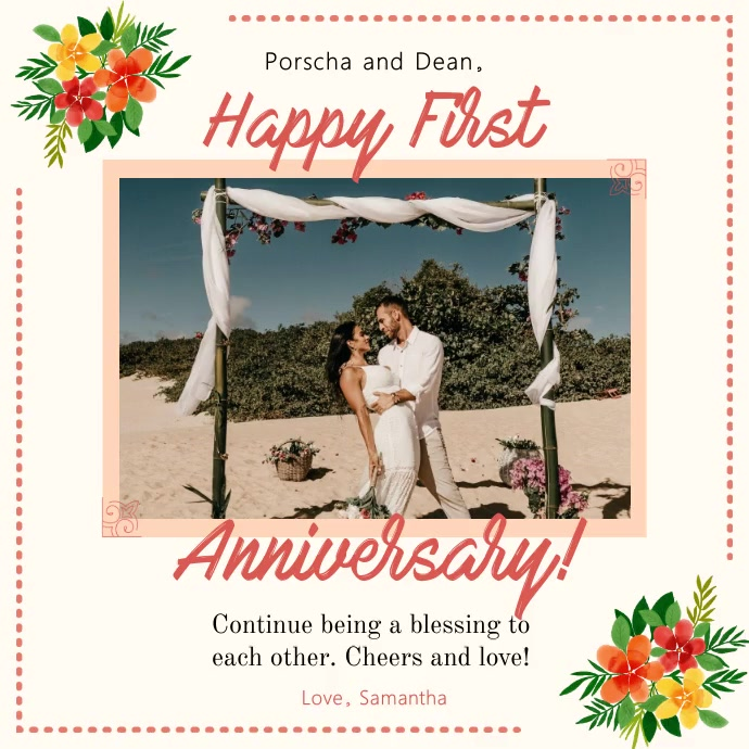 Floral Romantic Anniversary Square Video