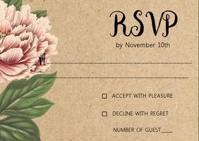 Floral Rustic Kraft wedding RSVP card